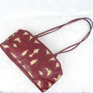 Leaders in Leather Red & Ivory Tooled Leather Bag